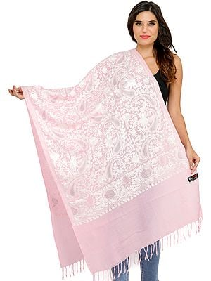 Stole from Amritsar with Crystals Ari-Embroidery in White Thread