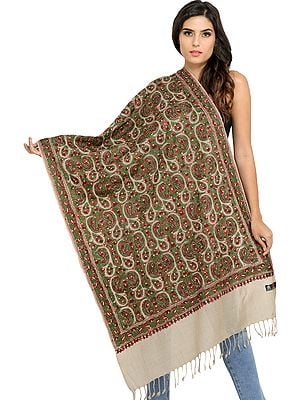 Khaki Stole from Amritsar with Dense Ari-Embroidery All-over