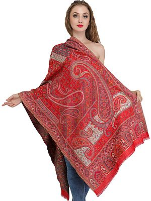 Tomato-Red Kani Jamawar Stole from Amritsar with Woven Paisleys