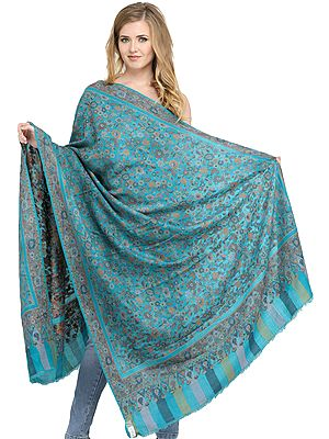 Blue-Bird Kani Pashmina Shawl from Amritsar with Woven Leaves