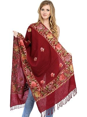 Plain Stole from Amritsar with Ari Floral Embroidery on Border
