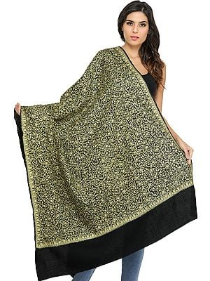 Jet Black Shawl from Amritsar with Zari Thread-Embroidery and Sequins