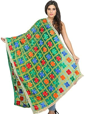 Phulkari Dupatta from Punjab with Embroidery All-Over