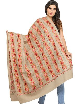 Cobblestone Shawl from Amritsar with Ari Floral Embroidery and Cutwork