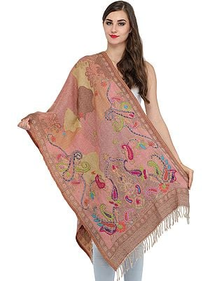 Geranium-Pink Jamawar Stole with Woven Paisleys and Wool-Embroidery