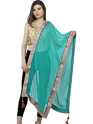 Dupatta from Jodhpur with Tie-dye Print and Gota Border