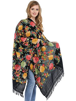 Jet-Black Stole from Kashmir with Ari Hand-Embroidered Flowers