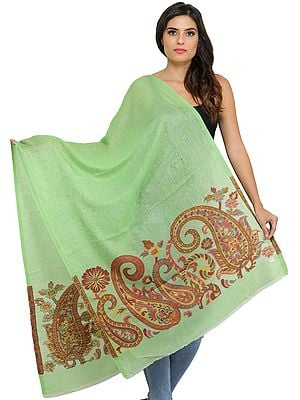 Areadian-Green Wool Shawl from Amritsar with Woven Paiselys in Self
