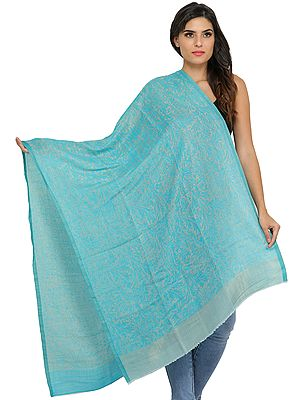 Atoll-Blue and Gray Reversible Cashmere Stole with Self-Weave
