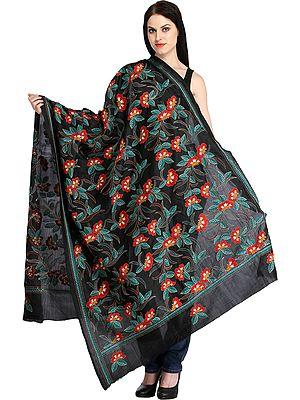 Phantom-Black Kantha Shawl with Woven Flowers and Border