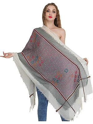 Off-White and Gray Two-Ply Stole with Ari Embroidery and Woven Border