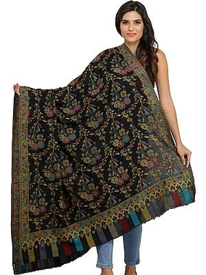 Phantom-Black Kani Jamawar Shawl with Flowers Woven in Multi-Colored Thread