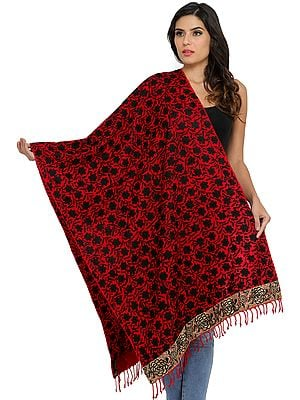 Phulkari Stole from Amritsar with Embroidered Flowers and Roses on Border