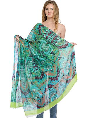 Atlantis-Green Digital-Printed Stole with Florals