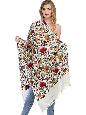 Off-White Kashmiri Stole with Ari Floral Embroidery by Hand