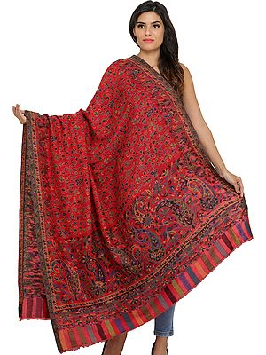 Cranberry-Red Kani Jamawar Shawl with Flowers Woven in Multi-Colored Thread
