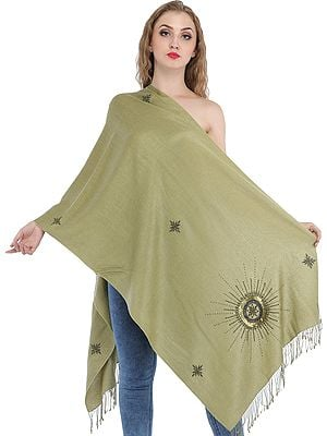 Green-Moss Plain Cashmere Silk Stole from Nepal with Embroidered Beads