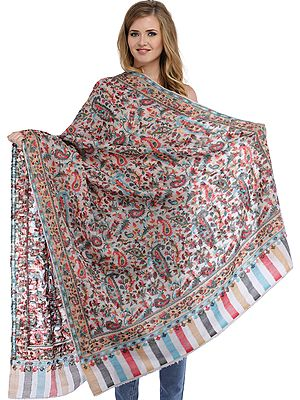 Bridal-Blush Kani Jamawar Cashmere Shawl with Flowers Woven in Multi-Color Thread