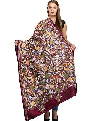 Rasberry-Radiance Densely Embroidered Kantha Dupatta from Kolkata