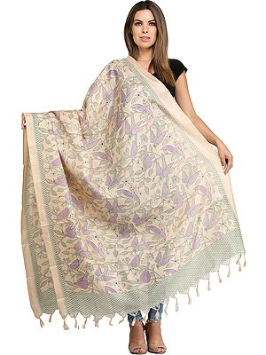 Cream Dupatta from Jharkhand with Printed Florals and Birds