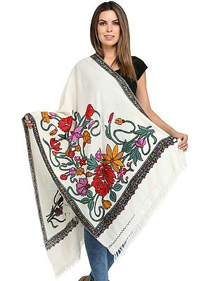 Kashmiri Stole with Ari-Embroidered Large Flowers by Hand