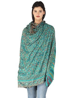 Kani Jamawar Stole with Woven Flowers and Paiselys in Multi-Color Thread