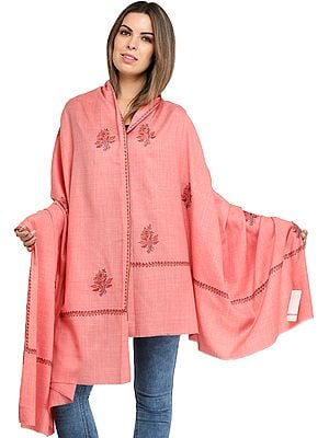 Plain Tusha Shawl from Amritsar with Sozni Hand-Embroidery on Border