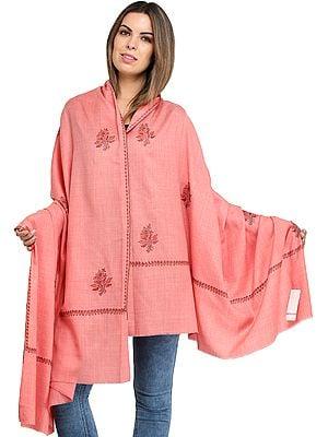 Plain Tusha Shawl from Amritsar with Sozni Hand-Embroidery on Border