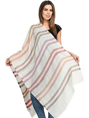 Fine Pure Wool Stole with Woven Stripes in Multicolor Thread
