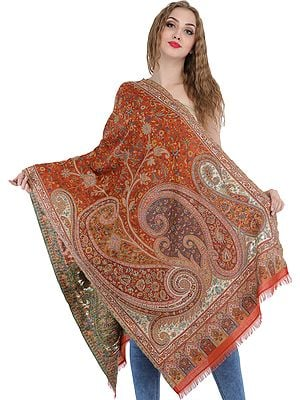 Burnt-Ochre Kani Jamawar Stole from Amritsar with Woven Paisleys and Florals
