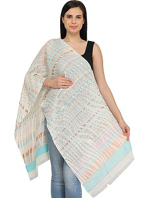 Off-White Stole with Woven Stripes and Flowers on Border in Multicolor Thread