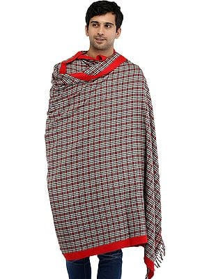 Flames-Scarlet Plain Men's Shawl from Kullu with Woven Checks