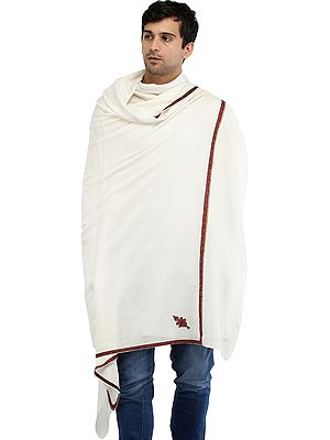Men's Tusha Shawl from Amritsar with Sozni Hand-Embroidery on Border