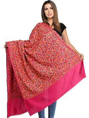 Pure Wool Shawl from Amritsar with Ari Floral Embroidery All-Over
