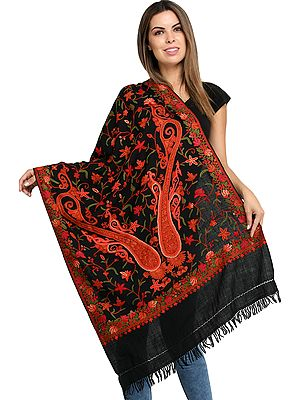 Pirate-Black Kashmiri Stole with Ari Embroidered Florals and Paiselys