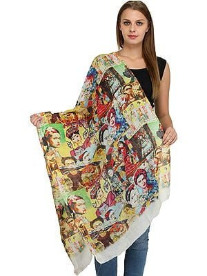 Eggnog Digital-Printed Stole with Florals and Human Figures
