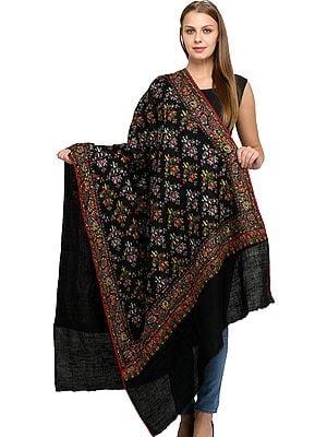 Phantom-Black Pure Pashmina Shawl from Uttar Pradesh with Sozni Floral Hand-Embroidery All-Over