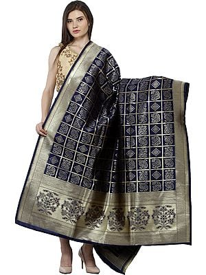 Bandhani Gharchola Dupatta with Zari Weave and Brocaded Border