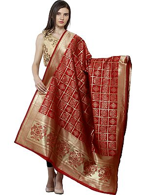 Bandhani Tie-Dye Gharchola Dupatta with Zari Weave and Brocaded Border
