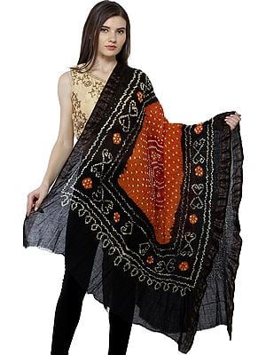 Tie-Dye Bandhani Dupatta From Gujarat with Woven Border and Chakra