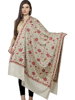 Shawl from Amritsar with Ari Embroidered Florals All-Over