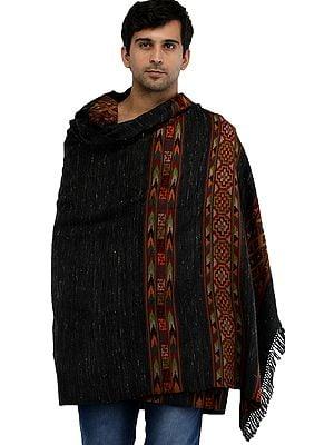 Phantom-Black Men's Shawl from Kullu with Kinnauri Woven Triple Border in Multicolor Thread