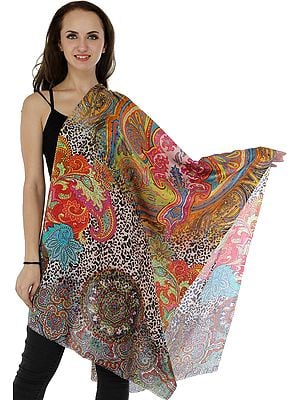 Multicolor Digital-Printed Stole with Florals and Paisleys