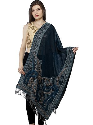 Blue-Coral Wool-Embroidered Jamawar Stole with Woven Paisleys and Sequins
