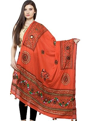 Printed Dupatta from Kutch with Hand-Embroidered Florals and Mirrors