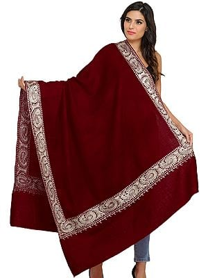 Plain Shawl from Amritsar with Zari Embroidered Paiselys on Border