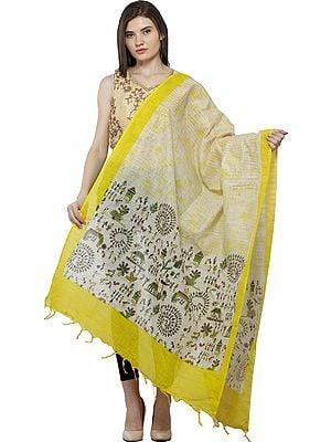 Reed-Yellow Dupatta from Jharkhand with Printed Warli Folk Motifs