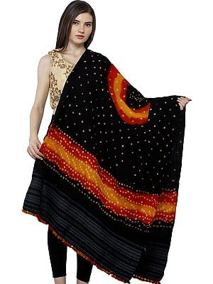 Pirate-Black Bandhani Tie-Dye Shawl from Kutch with woven motifs on border