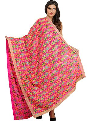 Rasberry-Sorbet Phulkari Dupatta from Punjab with Embroidered Bootis and Crystals