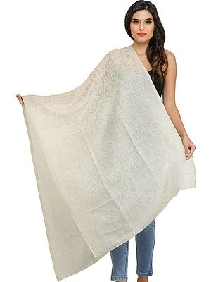 Bleached-Sand Reversible Cashmere Stole from Amritsar with Self-Weave